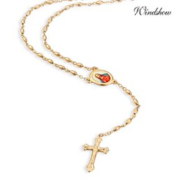 Wholesale Yellow Gold Jesus Pendant - Wholesale-Yellow Gold Plated Oval Bead Chain Strand Jesus Link Cross Beads Pendant Long Necklace Costume Dress Jewelry For Women