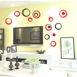 Wholesale Interior Wall Color - Wholesale- 2016 NEW 8 Color Fashion Removable Wall Sticker 3D Novel Circular Interior Home Office DIY Decor