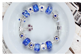 Wholesale Glass Pearls Beads - Glass beads bracelets blue night pearl DIY bracelets for women pandora bracelets 2017 hotsell free shipping whosale