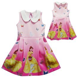 Wholesale Girls Chinese Silk Dresses - 2017 New Girls Princess Belle Party Dresses Beauty and the Beast Baby Cartoon Dresses Kids Summer Polyester Clothing Vest Dress