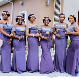 dentelle africaine lilas Promotion ASO EBI Afrique du Sud Lilas Nouveau Robes De Demoiselle D'honneur Sexy Dos Nu Sur Les Épaules Dentelle Appliques Longues Robes De Fête De Soirée Plus La Taille