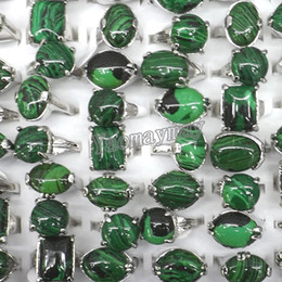 Wholesale Malachite Men - 50pcs lot Medium-sized Mixed Lot Malachite Rings For Men Semi-precious Stone Jewelry Free Shipping