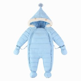 """Wholesale Baby Boy Down Snowsuit - """"Baby Snowsuit Winter Thick Baby Snowsuit For Kids Outerwear With Down Cotton Baby Jumpsuit Girl Boy Bodysuit With Hat Clothing Coat Set"""