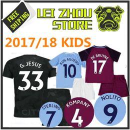 Wholesale Host M - Top Quality Kit 2017 Kids KUN AGUERO Hosts 3rd Black Soccer Shirt STERLING Walker DE BRUYNE GUNDOGAN Sane Bernardo Children's Football