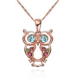 Wholesale Gold Plated Necklaces Women - Fashion Owl Crystal Pendant Necklace Prom Jewelry Made with Swarovski Elements Austrian Crystal Jewelry Necklace For Women