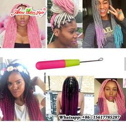 Wholesale Synthetic Braiding Hair Purple - 20''Faux Locs Braiding Hair Havana Kinky Twist Dread Locs Crochet Braids 100g pc 1B Purple Synthetic Ombre Fauxlocs Crochet Hair