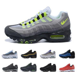 Wholesale Neon Green Laces - New Cheap Mens air sports 95 running shoes,Premium OG Neon Cool Grey sporting shoes sneakers size 40-46