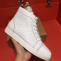 Wholesale Serpentine Shoes - Wholesale High Quality Luxury Brand Men High Top White Serpentine Skin Casual Shoes Women Red Bottom Sneakers,Unisex Flat Shoes