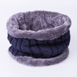 Wholesale Neckerchiefs For Men - Wholesale- 2016 New Fashion Winter Scarf For Men Scarf Warm Neckerchief O Ring Stripe Thickened Wool Knitted Scarves bufanda Drop Shipping