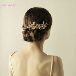 Wholesale Gold Leaf Hair - beijia Tiny Beaded Blossoms Hair Comb Gold Bridal Headpiece Wedding Leaf Hair Combs Accessories Women Crown