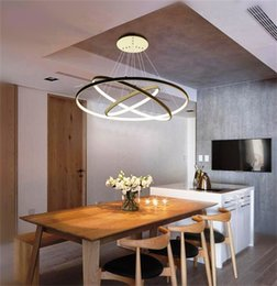 Wholesale Acrylic Ceiling Lamp Chandelier - 3 ring acrylic LED Chandelier Brightness Dimmable Modern round pendant lamp 90-260V 40 60 100CM Simple personality Ceiling pendant lamps