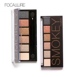 Wholesale Makeup For Blue Green Eyes - Focallure 6 Colors Eyeshadow Palette Glamorous Smokey Eye Shadow Makeup Makeup Kit for eyes makeup