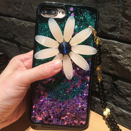 Wholesale Glitter Silicone Iphone Cases - New luxury Bling Daisy Silicone Case For Iphone 7 Quicksand Glitter Transparent Liquid TPU Cover For iphone 6 6s Plus huawei P9 Lite