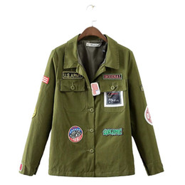 Wholesale Badge Embroidery Designs - Women cute letters embroidery badge patch jacket coats long sleeve pockets turn down collar coat casual streetwear tops CT1343