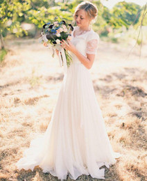 Wholesale Simply Short Chiffon Dresses - A-Line Country Wedding Dresses 2017 Cap Sleeve Cheap Simply Wedding Gown Floor Length Chiffon Wedding Dress