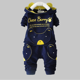 Wholesale Children Clothes Design For Boys - Wholesale- Baby Boy Clothing Sets 2016 New Spring Autumn Long Sleeve tops + pants suits for children clothes cute animal design hooded set