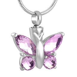 Wholesale Memory Charms - IJD8497 Butterfly Stainless Steel Cremation Pendant Necklace Crystal Funeral Ashes Keepsake Urn Memory Necklace Jewelry