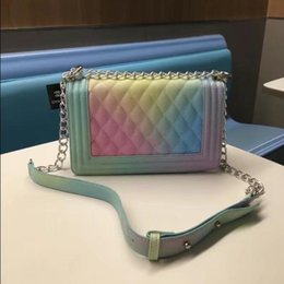 Wholesale Handbag Multi Color Leather - Brand rainbow bag handbags Designer handbags wallets for women fashion sheepskin leather chain bag shoulder bags