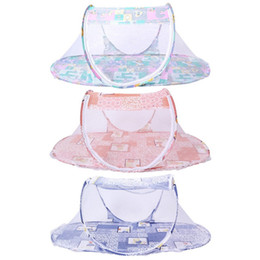 Wholesale Net Pictures - Wholesale- 2017 New Free Shipping Folding Baby Mosquito Net Portable Infant kids Bed Infant Colorful Cartoon Pictures Ger Sleeping Cribs