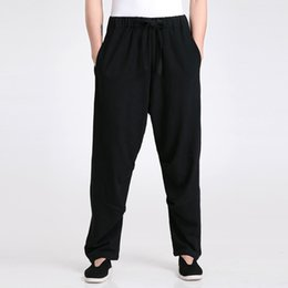 Wholesale Traditional Men Chinese Clothes - Wholesale- Black Traditional Chinese Men's Kung Fu Trousers Cotton Linen Casual Pants Wu Shu Clothing Size M L XL XXL XXXL 2601