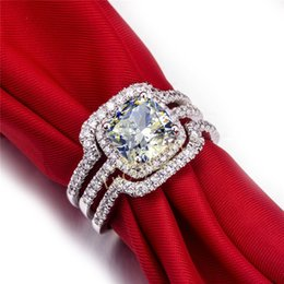 Wholesale Diamond Ring 3ct - Vintage Halo Style Cushion 3CT Synthetic Diamond Wedding Anniversary Ring Sterling Silver Jewelry Great Birthday Gift For Girl