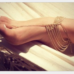 Wholesale Connect Fashion - XS Fashion Street Snap Connecting The Toes Anklets For Women Multi-Layer Long Tassel Chain Wholesale KR017