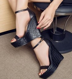 Wholesale Platform Sandal Lace Up - New Arrival Hot Sale Princess Noble Peep Toe Straps Tide Leather Party Cool Black Leather Strap Platform Wedge Sandals EU33-43