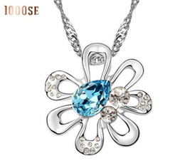 Wholesale Trinkets Sale - 2017 new 1000SE Quality goods woman Crystal Necklace Ripple flower High-end Pendant Trinket jewelry sale