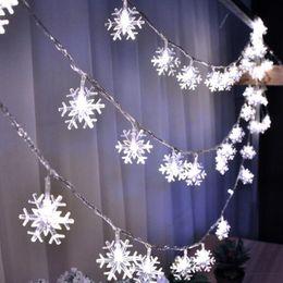 Wholesale Battery Snowflake - Snowflake String Lights 2M 3M 5M 10M 100LED Christmas LED Fairy String Light for Garden Wedding Party Christmas Tree Lights