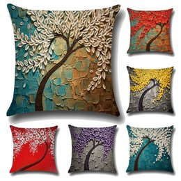 linen flower cushion case 2018 - Wholesale- Pillow Case Three - Dimensional Oil Painting Trees Flowers Printing Cotton and Linen Cushions Pillowcase Waist Cushions Cover H