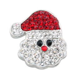 Wholesale Metal Charm Santa - 2016 New Crystal Christmas Santa Claus Snaps Charms Jewelry 18mm Metal Snap For Bracelet & bangle ZC004