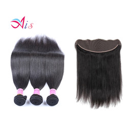 Wholesale Natural Yaki Hair Piece - 7A Mongolian Virgin Hair Straight Lace Frontal With 3Bundles Italian Yaki Hair 4 Pieces Lot 100% Human Hair Weaves Braidig Weave Sales