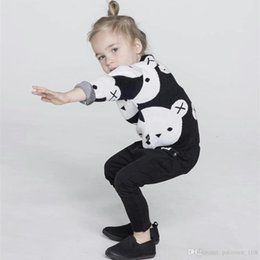 Wholesale Kids Panda Sweater - INS styles new Girl kids autumn winter long sleeve Cartoon panda pure cotton knitted sweater for children fashion elegant Pullover