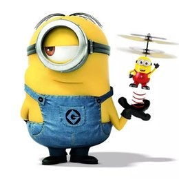 Wholesale Kit Fly Rc - Minions Helicopter RC Flying Toys Drone Indication Helicopter Built In Cartoon Minions Helicopter very lovely gift For Kids Adults