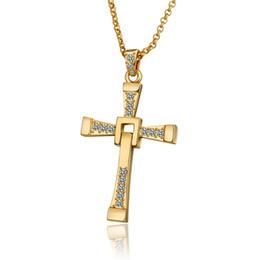 Collana ciondolo gioielli in oro 18k croce alta qualità uomo WGN703, A ++ Collana in oro giallo con gemme bianche e catene da