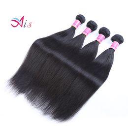 18 polegadas de cabelo malaysian on-line-Ais Cabelo Brasileiro Virgem Extensões de Cabelo Humano Tece 4 Pacotes Em Linha Reta Natural 1B Cor 8-30 polegadas Indiano Cabelo Malaio Peruano