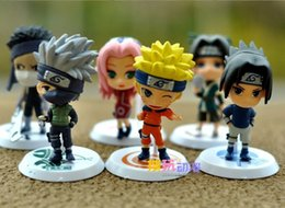 "Wholesale Naruto Figures Set - Japan Anime Naruto 6pcs set 2.8"" figure Naruto Sakura kakashi sasuke haku Zabuza Q version"