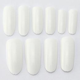 Wholesale Oval Tip Acrylic Nails - Wholesale-500 Oval Nails Tips Round Full Cover Color Tips False Nail Art Tips Acrylic Fake Nails Dropshipping [Retail] SKU:A0013
