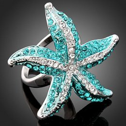 Wholesale Sea Stars Wholesale - Exquisite fashion starfish ring sea star rings elegant pearl finger Accessories gift