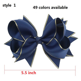 """Wholesale Navy Hair - 6 style available ! 5.5"""" Navy Children Baby Girls Hair Bows With 6cm Hair Clips Luxry Gold Ribbon Bows For Girls Hair Accessories 50pcs"""