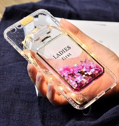 telefones femininos Desconto Phone 7 Perfume Bottle Case, [LED piscando] feminino Bling brilho areia fluindo líquido magro flexível Tpu Clear protetora Sparkle Case com Det