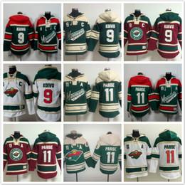 Wholesale Men Blank Sweatshirts - Minnesota Wild hoodies 9 Mikko Koivu #11 Zach Parise Ice Hockey Hoody Sweatshirts blank green red white