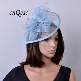 Wholesale Crown Derby - NEW Pale blue sinamay fascinator hat for ascot races,melbourne cup,kentucky derby,wedding and party.