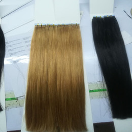 Wholesale Dark Blonde Human Hair Extensions - ELIBESS Tape in human hair extension 2.5g pcs 40pcs set 1B #2 #4#6 #27 Double Drawn Tape In Hair Extension With Thick Ends
