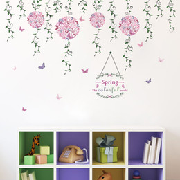 Wholesale Small Pink Sofa - Pink Flower Butterfly Wall Sticker for Bedroom Wall Decal Living Room Sofa Decoration Wall Art