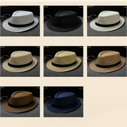 Wholesale Cheap Kids Hats Wholesale - Cheap Vogue Men Women Hat Kids Children Straw Hats Cap Soft Fedora Panama Belt Hats Outdoor Stingy Brim Caps Spring Summer Beach LC613-1