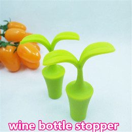 Wholesale Wholesale Cute Wine Stoppers - Cute Silicone Bottle Caps sprout shape wine bottle stopper plastics wine cork stopper sealing plug Chirstmas gift wed448