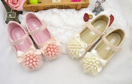 Wholesale Leather Ballet Dance Shoes - Baby girls shoes baby single shoes princess girls cute pearls leather shoes children bows gauze soft bottom ballet dance shoe T4771