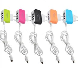 Wholesale Micro Usb Charger Wall Port - 3.1A Triple USB Port Wall Home Travel AC Charger Adapter Micro USB Cable For Samsung Android mobile Phone Charger US EU Plug