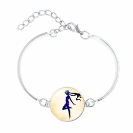 sailor moon party Promo Codes - Hot Sale!5pcs Vintage Silver Plated Jewelry with Glass Cabochon Sailor Moon Pattern Charm Bracelet and Bangles for Women Party Gift Can Cho